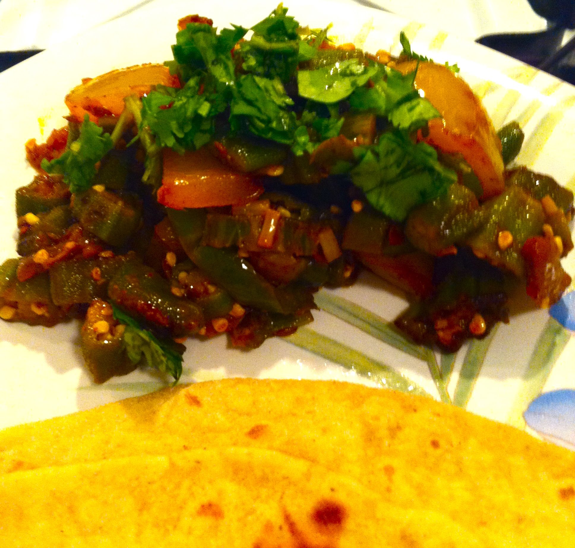 Sauteed Indian Okra with Spicy Onion, Bell Pepper & Cumin & Homemade ...