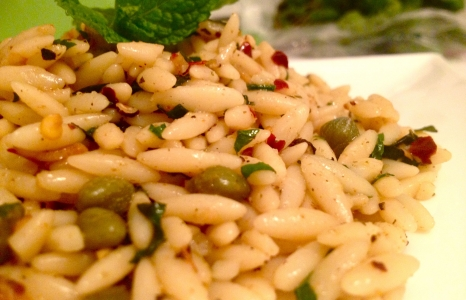Garlic-Mint Orzo with Cumin & Capers
