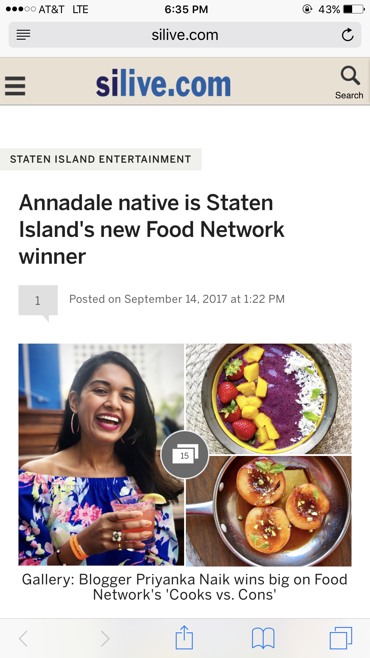 Food networks cooks vs cons winner chefpriyanka to hear from here i have only received love support from the community and was even featured on the staten island advance homepage with a lovely forumfinder Images